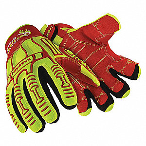 Impact Resistant Gloves, Synthetic Leather Palm Material, Red/Hi-Visibility, 1 PR