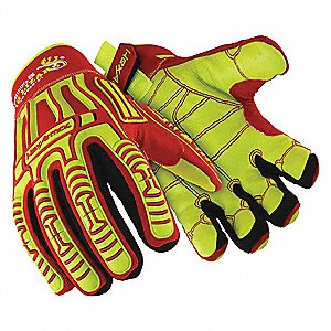 Impact Resistant Gloves, Goatskin Palm Material, Red/Hi-Visibility, 1 PR