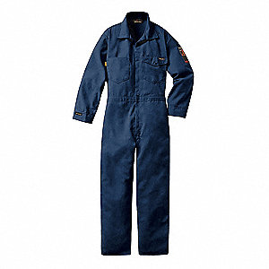 Flame-Resistant Coverall,Nvy,Lng,52 in.