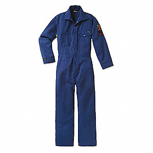 Flame-Resistant Coverall,Ryl,Lng,50 in.
