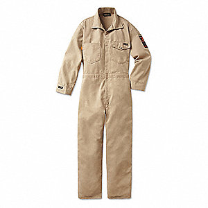 Nomex® IIIA, Flame-Resistant Coverall, Size: M, Color Family: Beiges, Closure Type: Snap