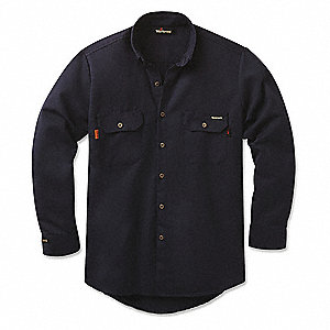 Navy Flame-Resistant Collared Shirt, Size: S, 8.4 cal/sq cm ATPV Rating