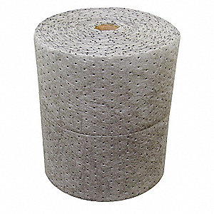 Light, Polypropylene Absorbent Roll, Fluids Absorbed: All Spills, 300 ft. Length