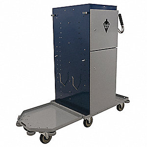 Blue/Gray, Metal, Powder Coated Housekeeping Cart