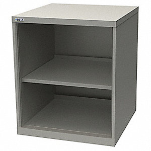 "Base Cabinet, Open Face Cabinet Doors, 28-1/4""W x 28-1/2""D x 33-1/2""H, 2 Shelves, Light Gray"