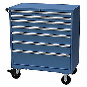 "Mobile Counter Height Modular Drawer Cabinet, 7 Drawers, 40-1/4""W x 22-1/2""D x 47-1/2""H Bright Blue"