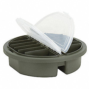 "Bucket Top Compartment Box, Forest Green, 3-3/4""H x 3-3/4""L x 12""W, 1EA"