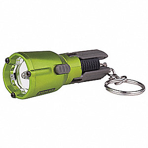 LED Keychain Flashlight, Plastic, Maximum Lumens Output: 2, Green, 3.50""