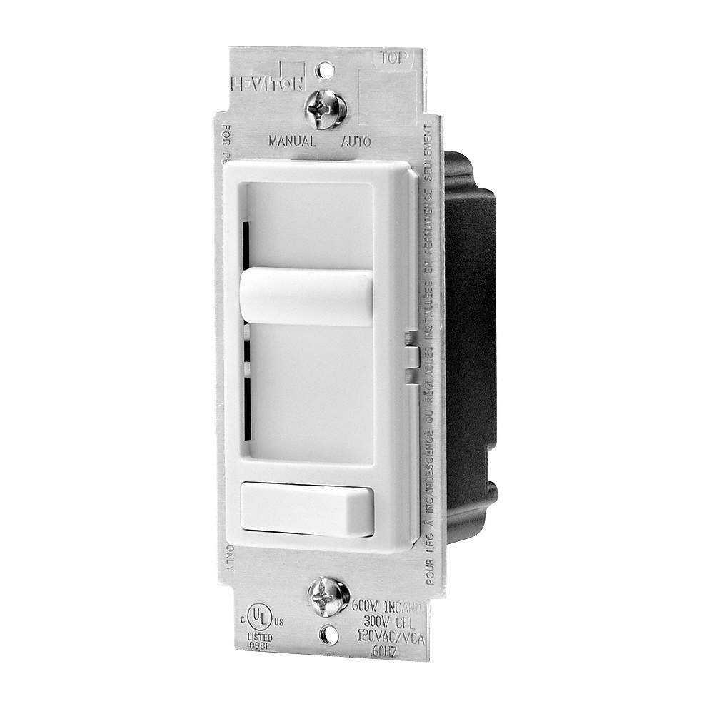LEVITON Slide with On/Off Rocker Lighting Dimmer, CFL, Incandescent ...