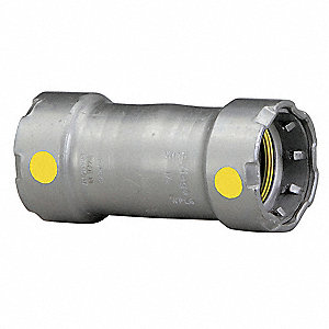 "Carbon Steel Coupling No Stop, Press x Press Connection Type, 1-1/4"" x 1-1/4"" Tube Size"