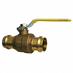 "Brass Press x Press Ball Valve, Lever, 1-1/4"" Pipe Size"