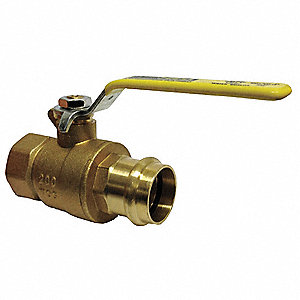 "Brass FNPT x Press Ball Valve, Lever, 1-1/4"" Pipe Size"