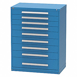 "Stationary Full Height Modular Drawer Cabinet, 9 Drawers, 45""W x 21-1/2""D x 59""H Dark Blue"