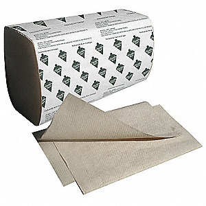 "10"" x 9 1/4"" 1-Ply Single Fold Paper Towel, Brown&#x3b; PK16"