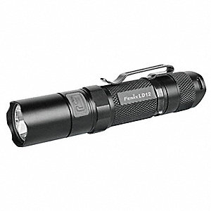 LED Mini Flashlight, Aluminum, Maximum Lumens Output: 125, Black, 4.10""