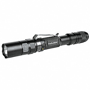 Industrial LED Handheld Flashlight, Aluminum, Maximum Lumens Output: 300, Black