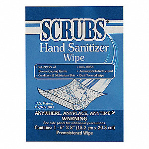 "6"" x 8"" Unscented Fragrance Hand Sanitizer Wipes, 100 Wipes per Container, 1 EA"