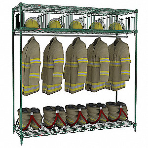 Green Epoxy Turnout Gear Storage Rack, Free Standing Mounting, Number of Sides: 1
