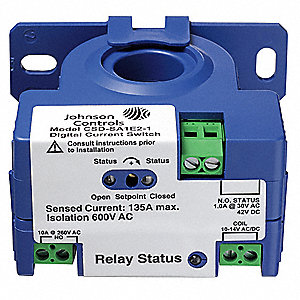Adjustable Current Sensing Relay, 240VAC Input Voltage, 10.00A Contact Amps, Contact Form: 1NO