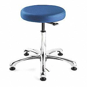 ESD Vinyl ESD Backless Pneumatic Stool with 300 lb. Weight Capacity, Blue