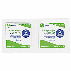 "Alcohol Prep Pads, 2-23/64"" x 1-3/16"" Packet"
