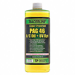 PAG Lubricant/Dye,Fluorescent A/C,32 oz.