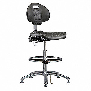 "Polyurethane ESD/Cleanroom Pneumatic Task Chair with 20-1/2"" to 30-1/2"" Seat Height Range and 300 lb"