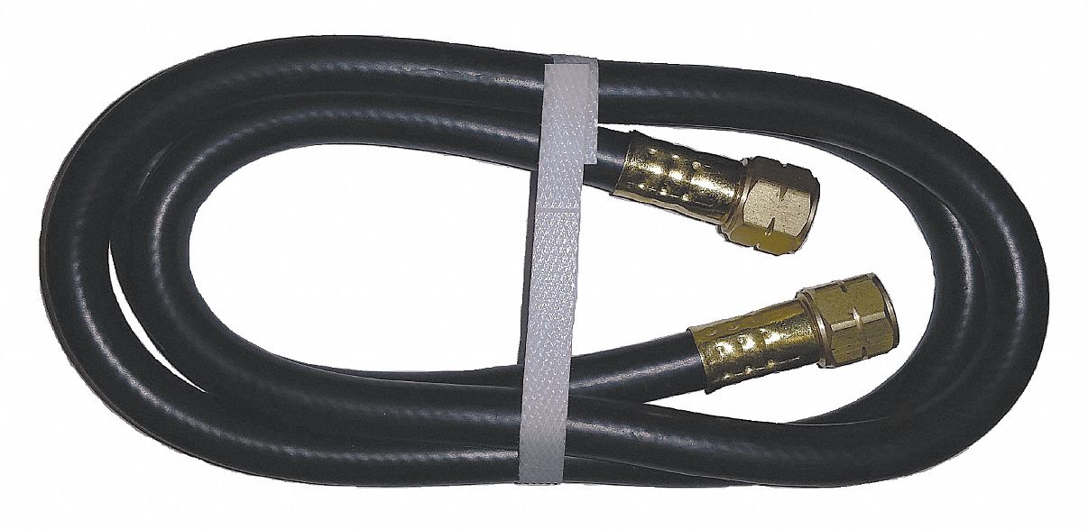 Gas Hose,  Hose Grade Liquid Propane,  1/4 in,  10 ft,  Black