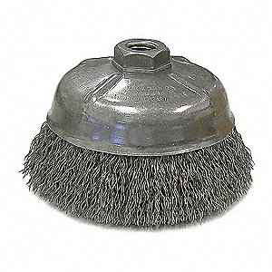"5"" Crimped Wire Cup Brush, Shank Mounting, 0.014"" Wire Dia. 1-1/4"" Bristle Trim Length"
