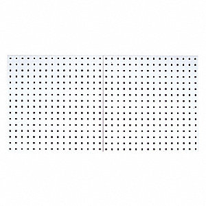 "Steel Pegboard Panel with 240 lb. Load Capacity, 24""H x 24""W, White, 2 PK"