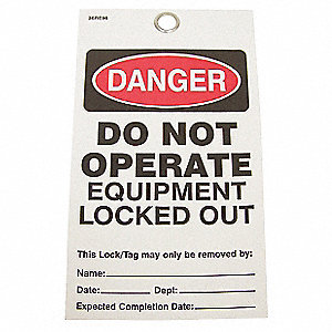 "Danger Do Not Operate Tag, Vinyl, Do Not Operate Equipment Locked Out, 5-3/4"" x 3-9/64"", 25 PK"