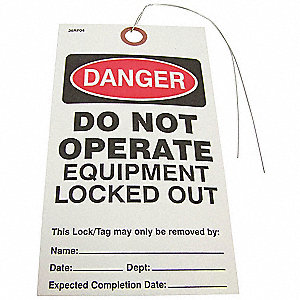 "Padlock Label, Paper, Do Not Operate Equipment Locked Out, 5-3/4"" x 3-9/64"", 25 PK"
