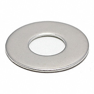 "#10x7/16"" O.D., Flat Washer, Stainless Steel, 18-8, NL-19(SM), PK100"