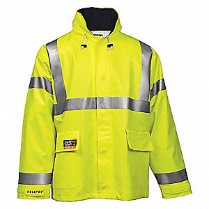 Arc Flash Rain Jacket, PPE Category: 2, High Visibility: Yes, Nomex® PVC, 2XL, Yellow/Green