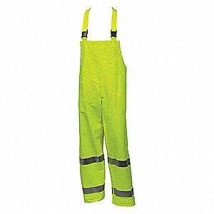 Arc Flash Rain Bib Overall, PPE Category: 2, High Visibility: Yes, Nomex® PVC, 4XL, Yellow\Green