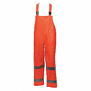 Arc Flash Rain Bib Overall, PPE Category: 2, High Visibility: Yes, Nomex® PVC, L, Orange