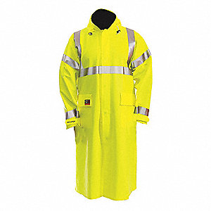 Arc Flash Rain Coat, PPE Category: 2, High Visibility: Yes, Nomex® PVC, M, Yellow/Green