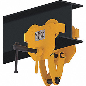"Clamp Trolley, 1000 lb. Load Capacity, Fits Beam Flange W 3-5/8"" to 7-1/8"""