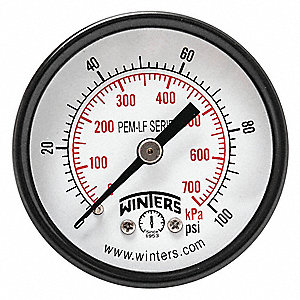 "2"" Lead Free Pressure Gauge, 0 to 100 psi"