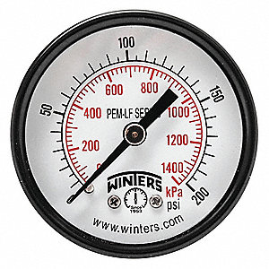 "2"" Lead Free Pressure Gauge, 0 to 200 psi"