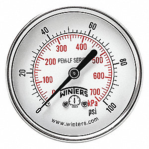 "2-1/2"" Lead Free Pressure Gauge, 0 to 100 psi"