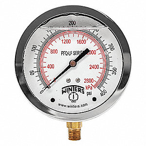 Gauge,Pressure,4in.,0 to 400 psi