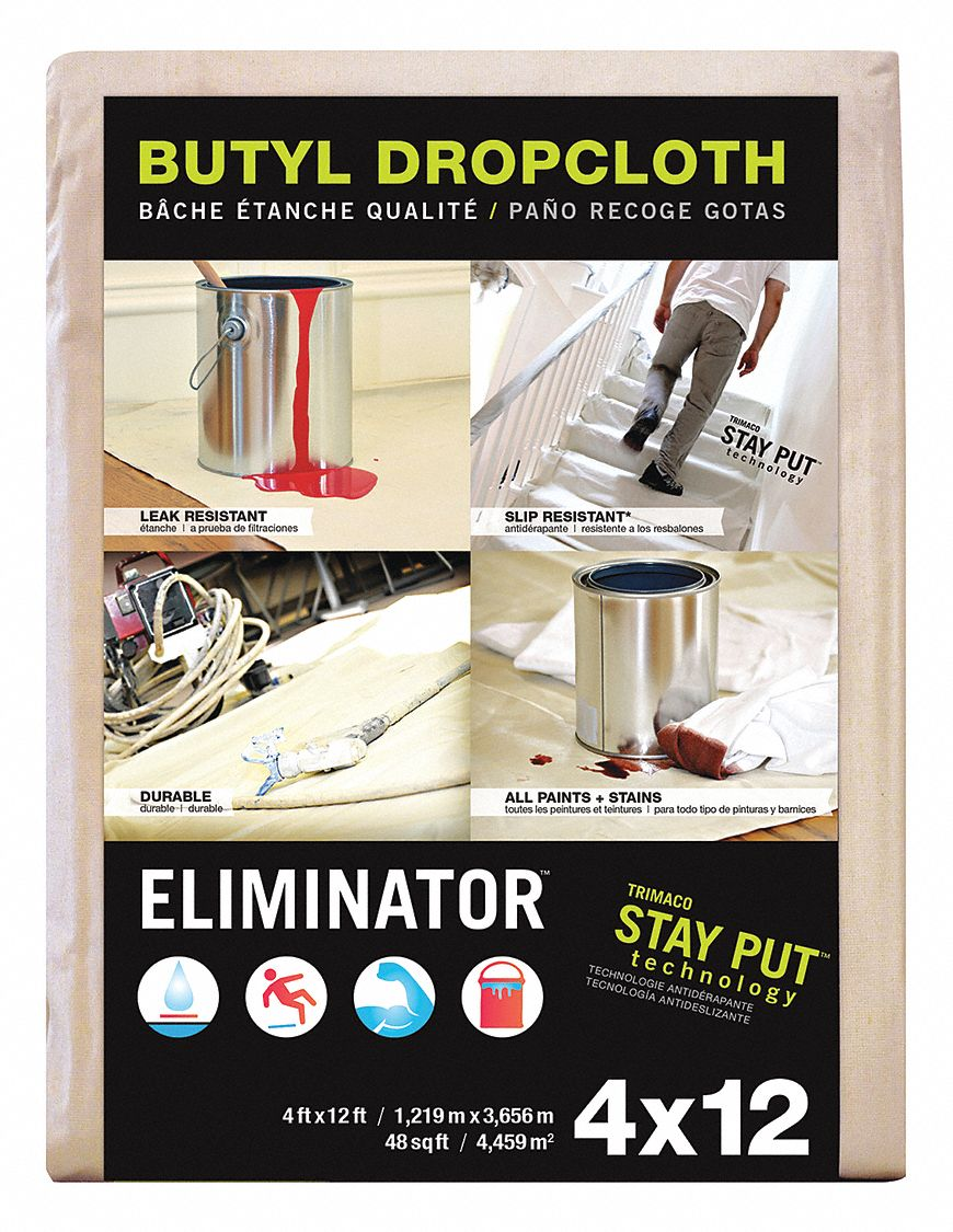 Leakproof and Slip Resistant Drop Cloth,  PVC,  13 mil Thickness,  12 ft Width,  4 ft Length,  White