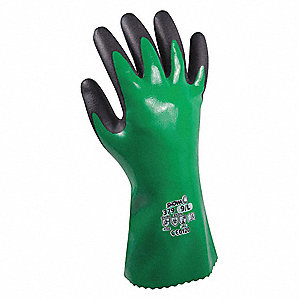 Nitrile Chemical Resistant Gloves, Polyester Lining, Size 2XL, Black/Green, PR 1