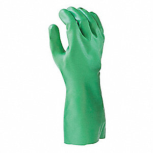 Nitrile Chemical Resistant Gloves, 15 mil Thickness, Cotton Flock Lining, Size XS, Green, PR 1