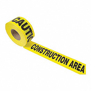 "Barricade Tape, Yellow, 3"" x 1000 ft., Caution, Construction"