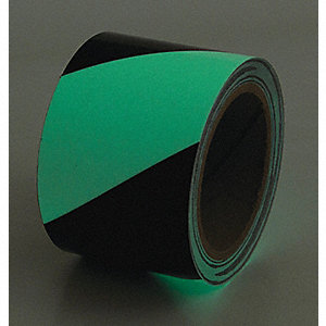 "Glow-in-the-Dark Marking Tape, Striped, Continuous Roll, 1"" Width, 1 EA"
