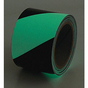 "Glow-in-the-Dark Marking Tape, Striped, Continuous Roll, 2"" Width, 1 EA"