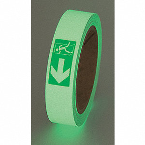"Glow-in-the-Dark Marking Tape, Message, Continuous Roll, 1"" Width, 1 EA"