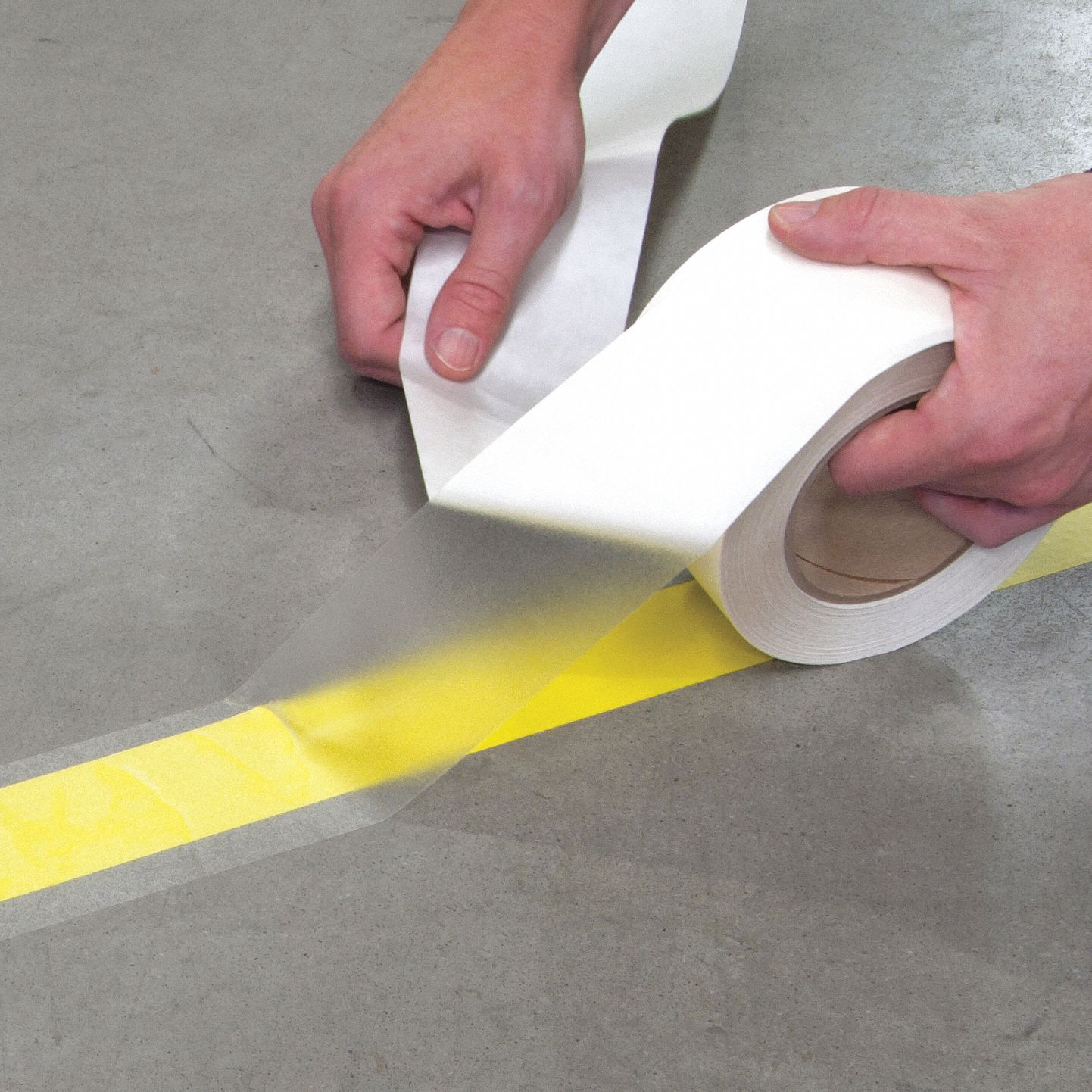 Floor Marking Tape, Solid, Continuous Roll, 4 in Width, 1 EA